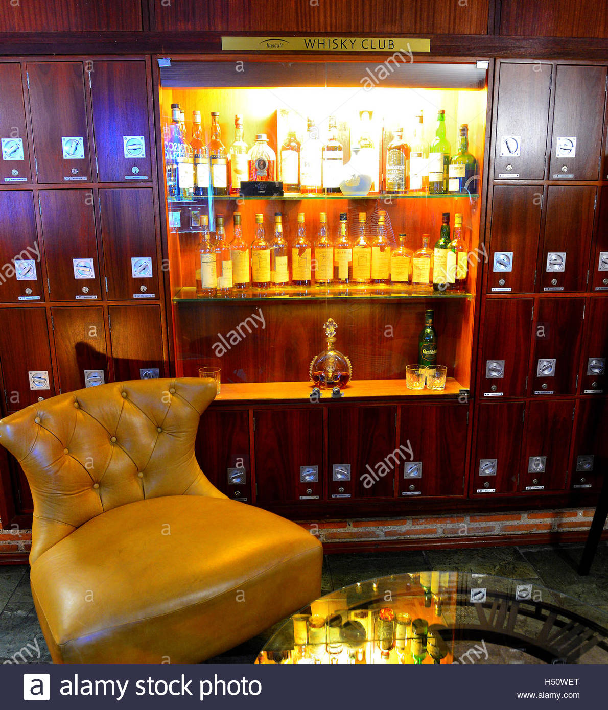 Bascule Whisky room with own lockers to keep ones bottles under lock and key at the Cape Grace Hotel Cape Town - Stock Image