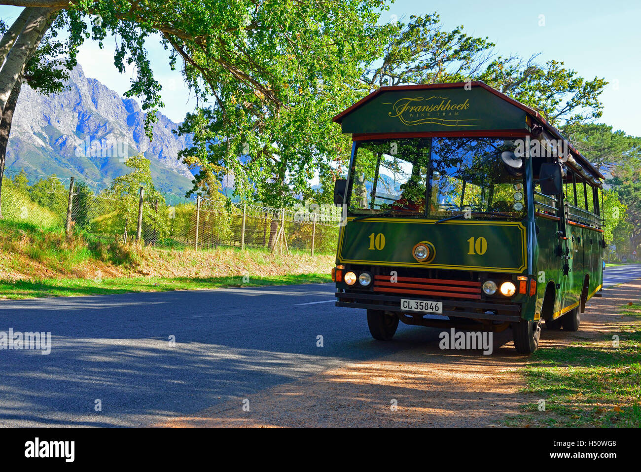 Franschhoek Wine Tour 'tram'(based on the actual tram in Franschhoek ) used to take tourist around the neighbourhood's - Stock Image