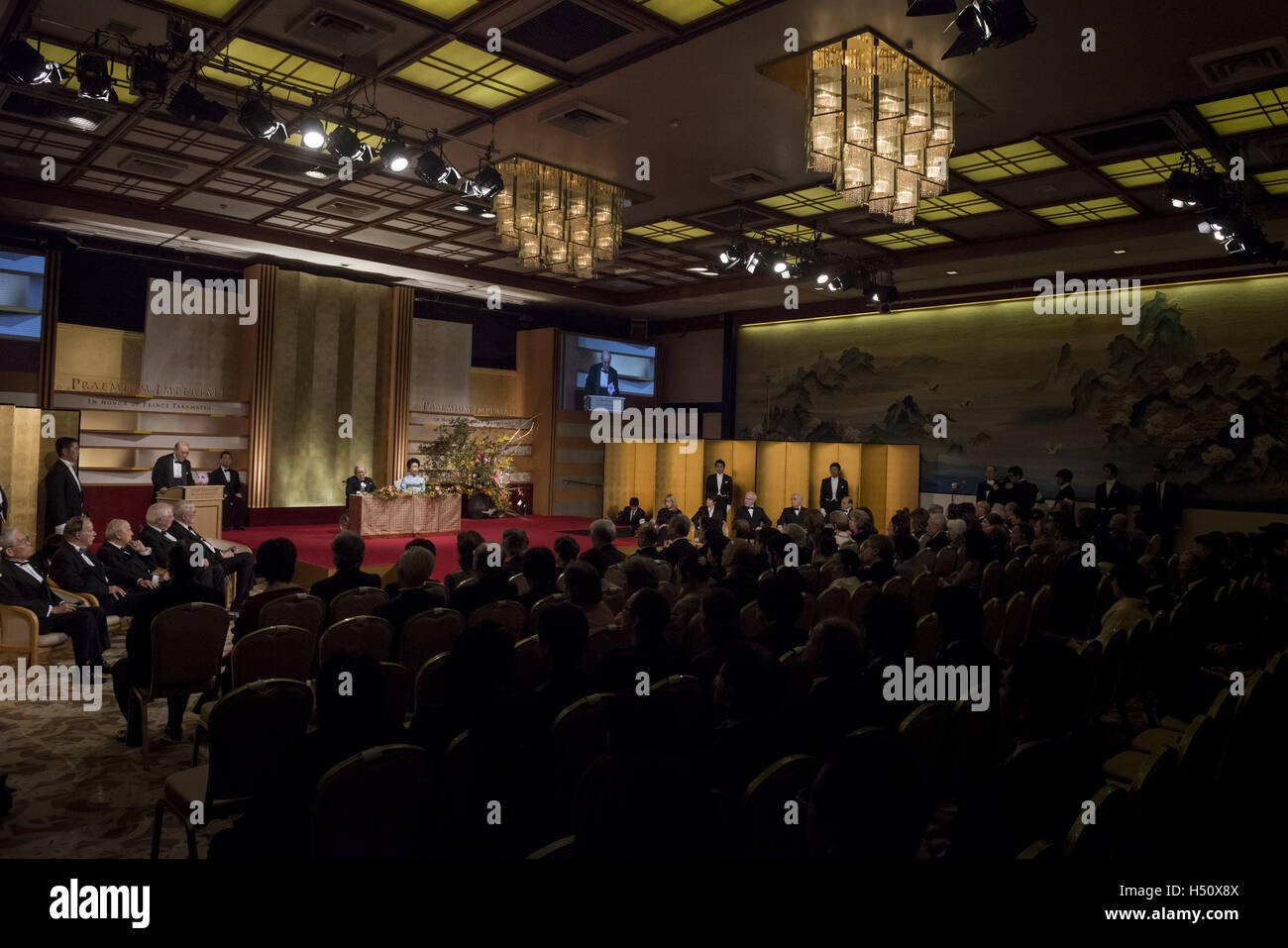 Tokyo, Japan. 18th Oct, 2016. The 28th Praemium Imperiale Awards Ceremony (L to R) Japan's Prince Hitachi and - Stock Image