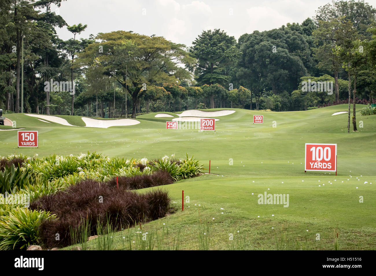 Kuala Lumpur, Malaysia.  19th Oct, 2016. A view of the driving range set up for CIMB PGA Championship starts on - Stock Image