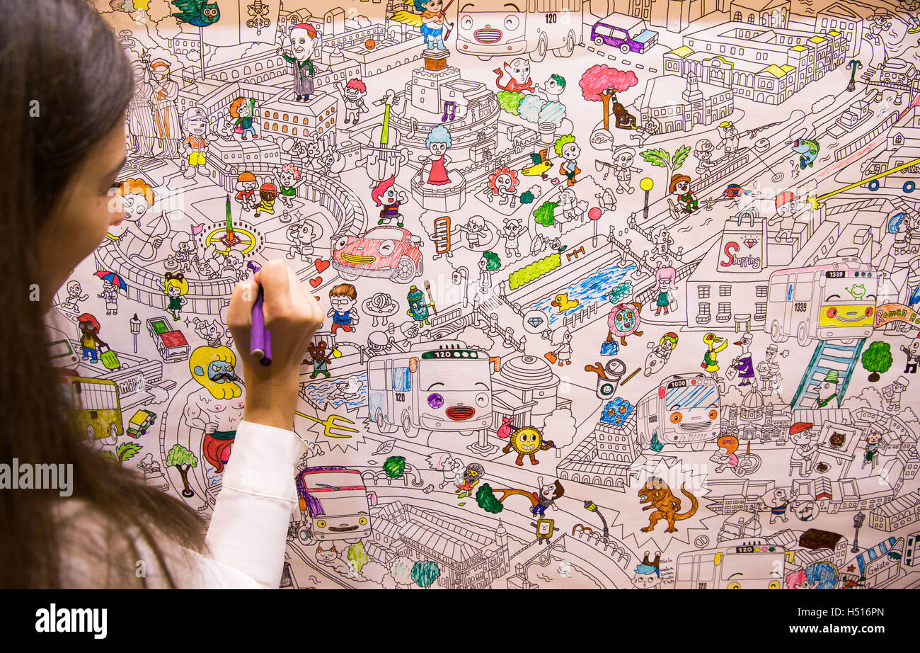 Frankfurt germany 19th oct 2016 a hidden object game picture 19th oct 2016 a hidden object game picture which can be coloured by visitors is hung on a fair booth in hall 3 at the book fair in frankfurt germany gumiabroncs Images