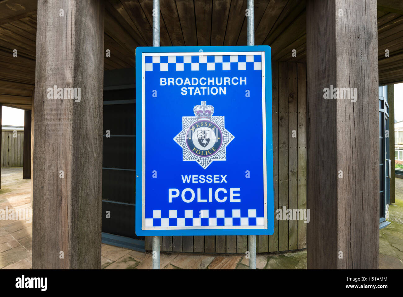 Broadchurch police station sign at West Bay, Dorset in place for filming of series 3 of the hit ITV drama staring - Stock Image