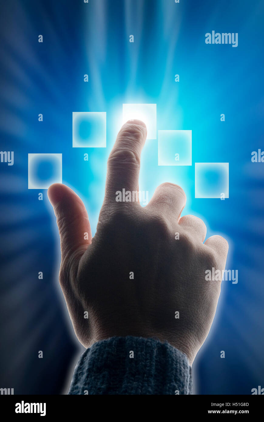 male finger scanned, identification and biometric scan - Stock Image