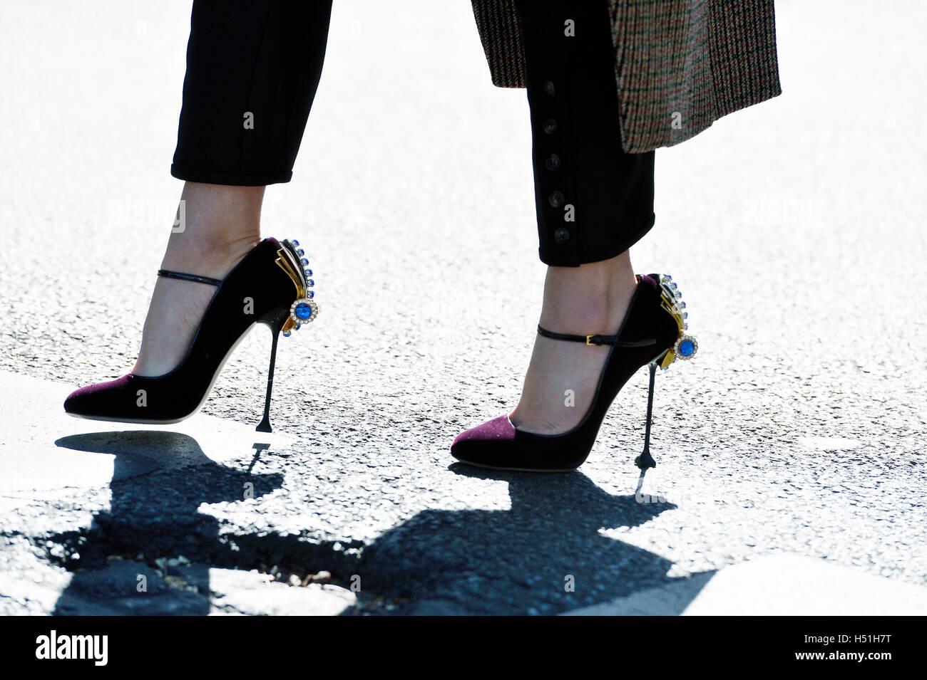 Woman wearing Miu Miu Shoes at paris Fashion Week RTW S S 2017 Stock ... dfc28b4a79