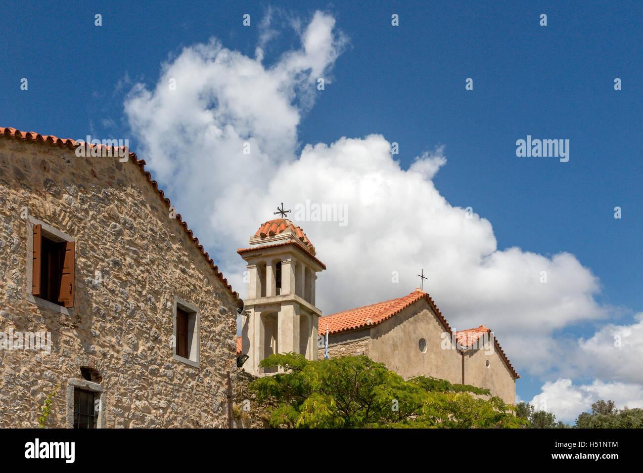 Archangel church at Anavatos mountain village  Chios Greece - Stock Image