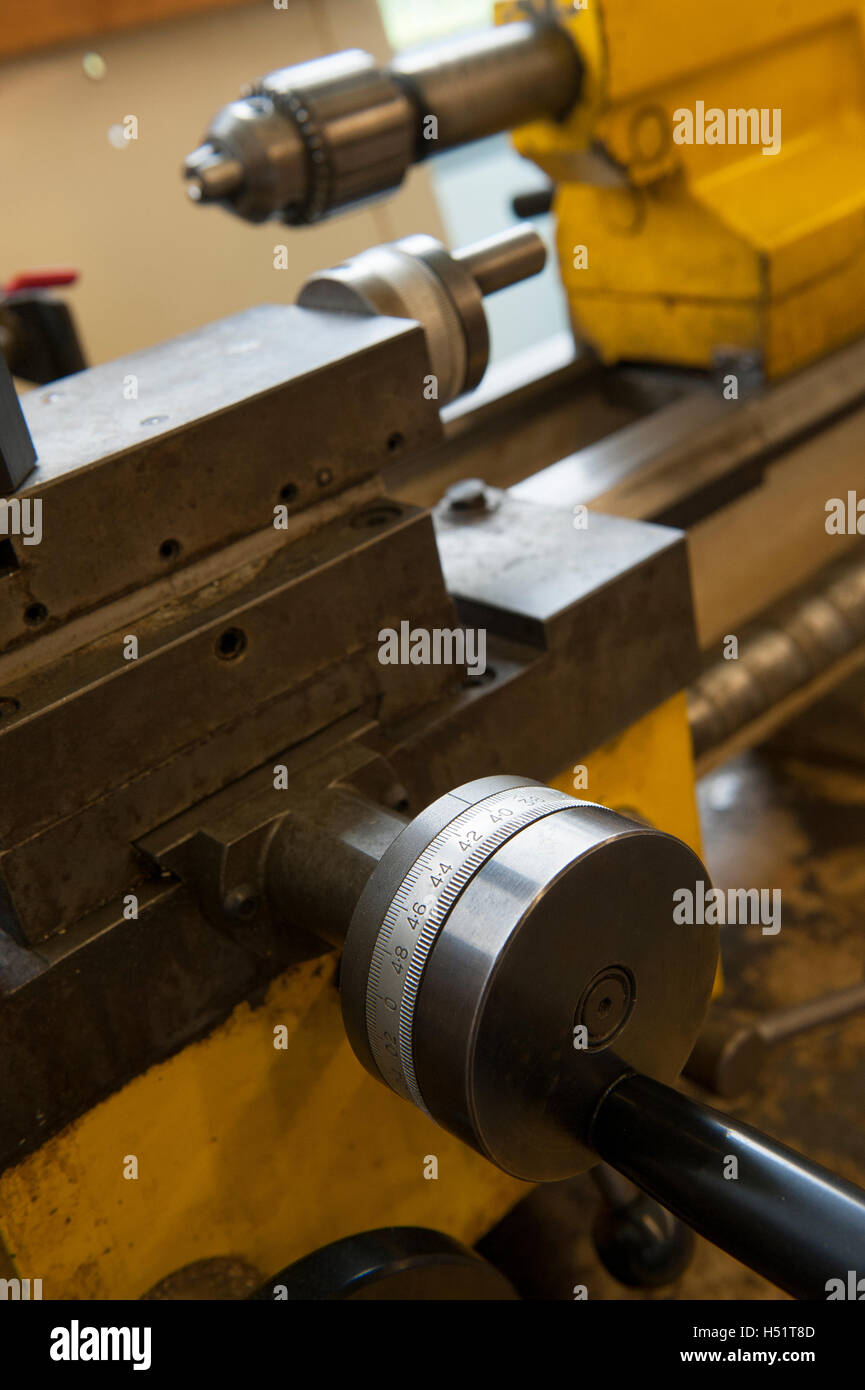 Micrometer lathe carriage stop - Stock Image