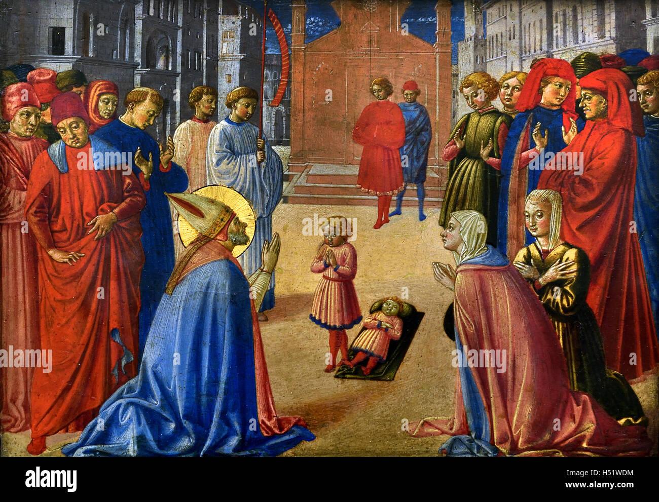 Saint Zenobius awakens a dead boy 1461 Benozzo Gozzoli (1420) painter Italian15th Century Italy - Stock Image