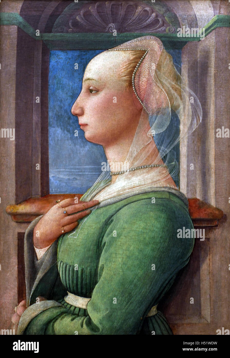 Profile of a young woman portrait Fra Filippo Lippi 1445 painter Italy Italian15th Century - Stock Image