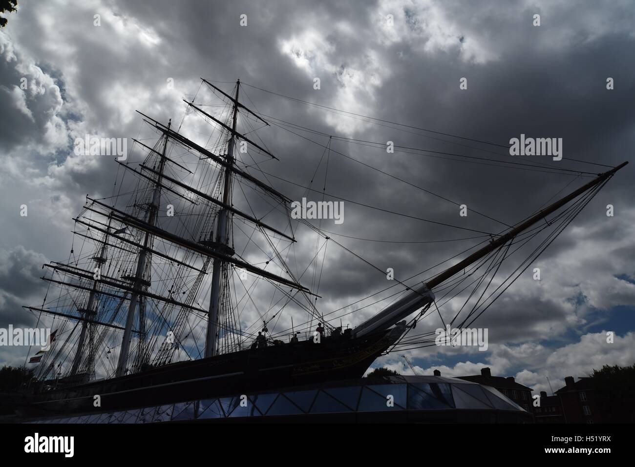 Cutty Sark in a stormy sky - Stock Image