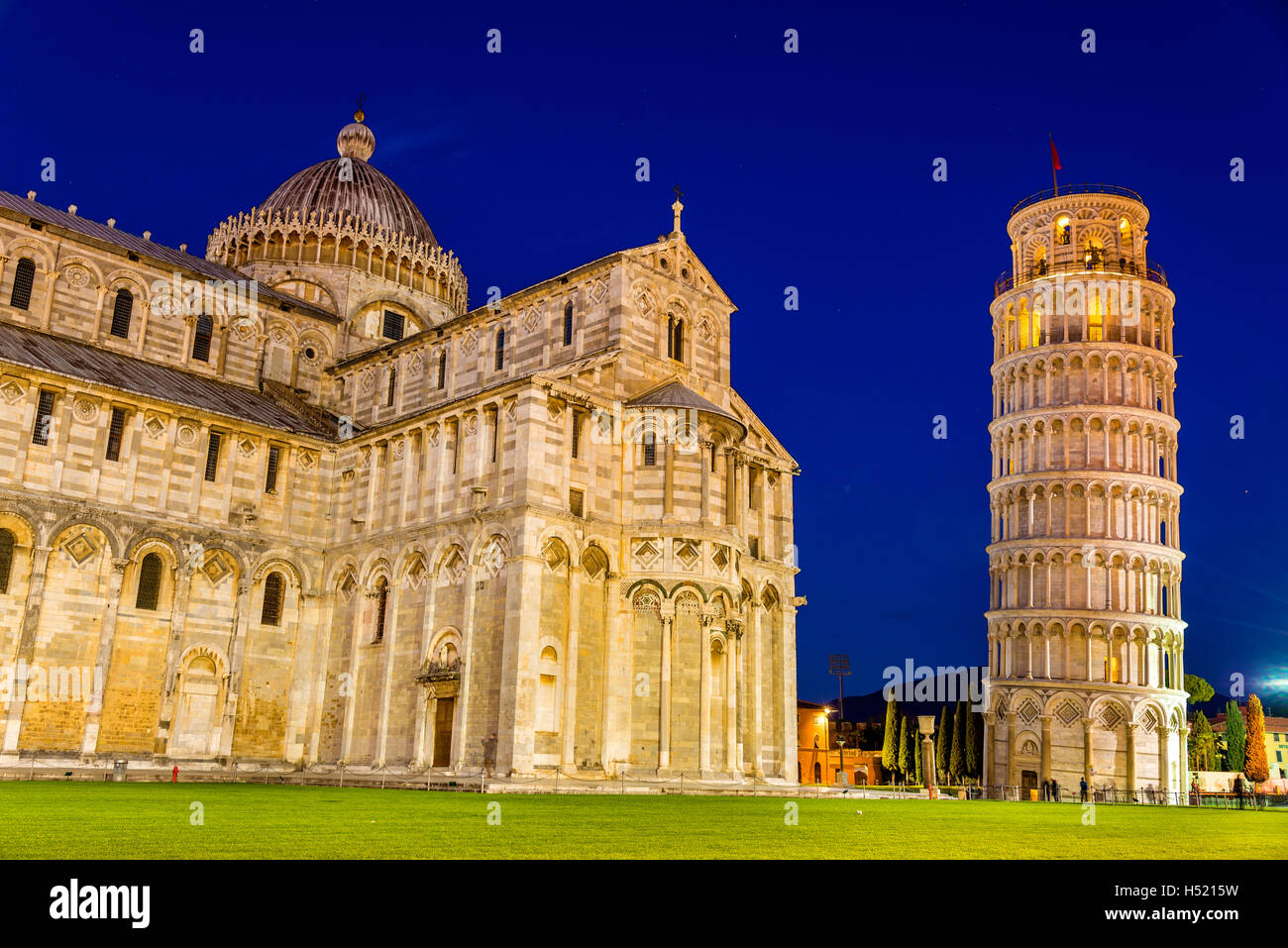 The Leaning Tower of Pisa and the Cathedral in the evening - Stock Image