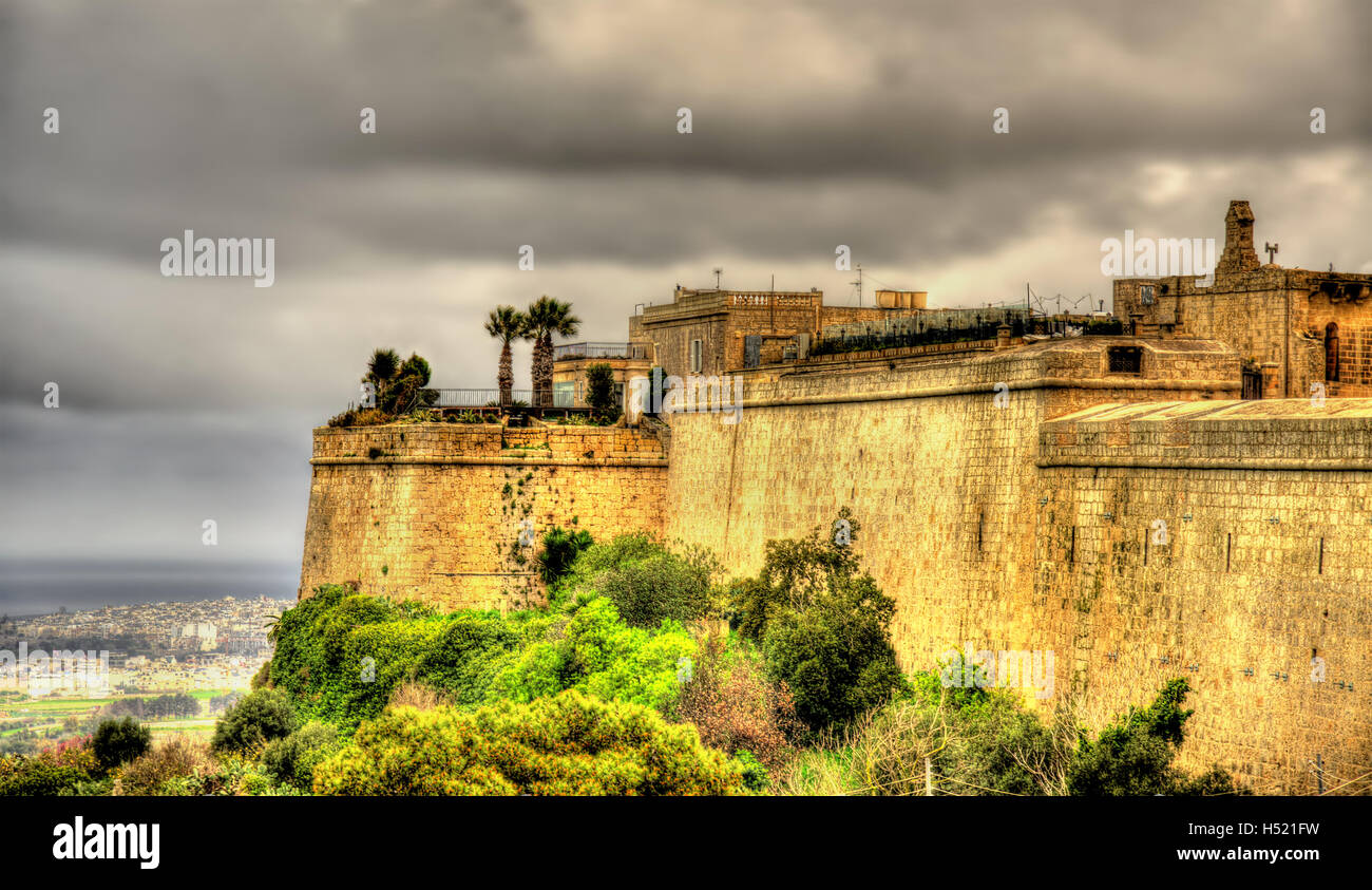 Fortifications of the city of Mdina - Malta Stock Photo