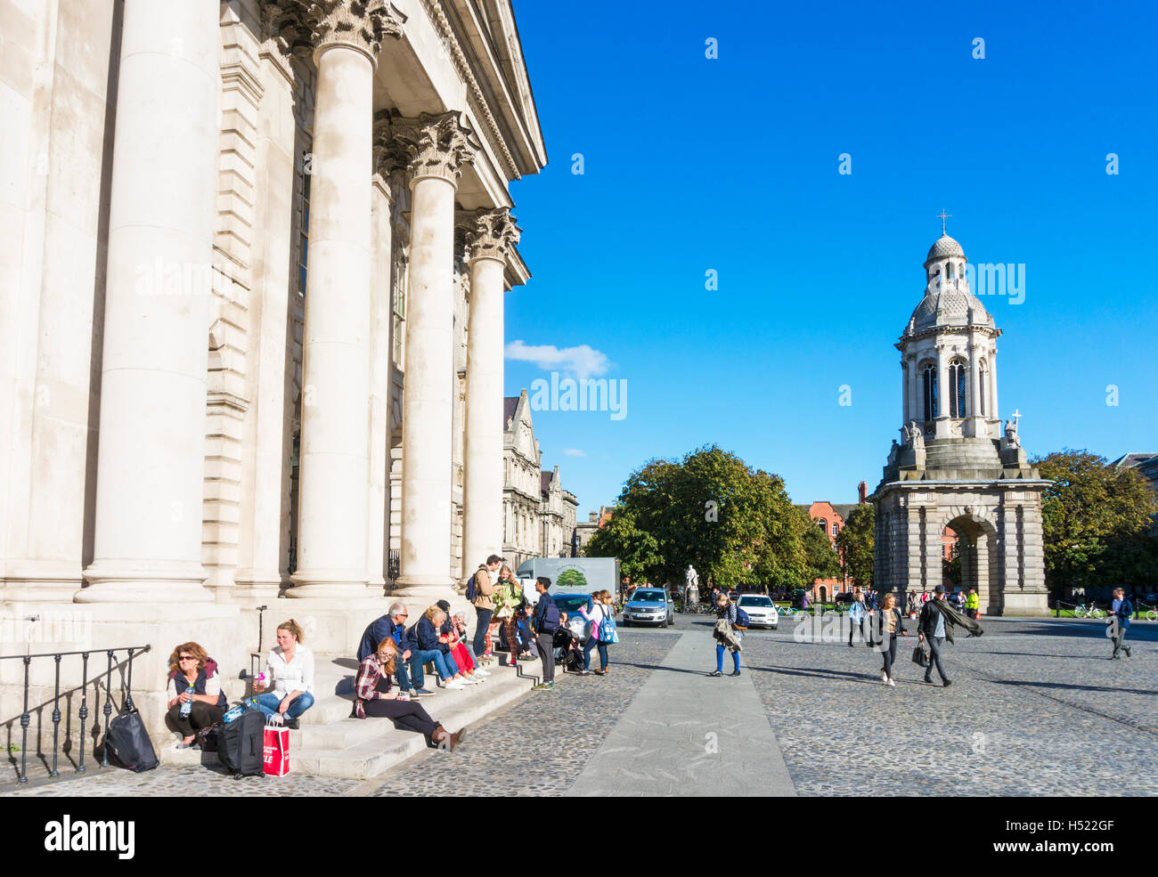 Parliament Square with Chapel and Campanile Trinity College Dublin Ireland Europe EU Stock Photo