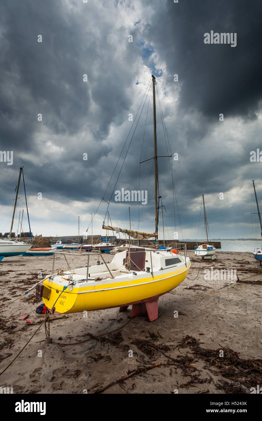 A yellow moored sail boat called 'The Curlew' on a sandy beach in Northumberland on the North East coast - Stock Image