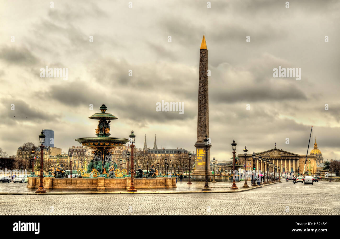 Place de la Concorde with Obelisk of Luxor and fountains - Paris - Stock Image