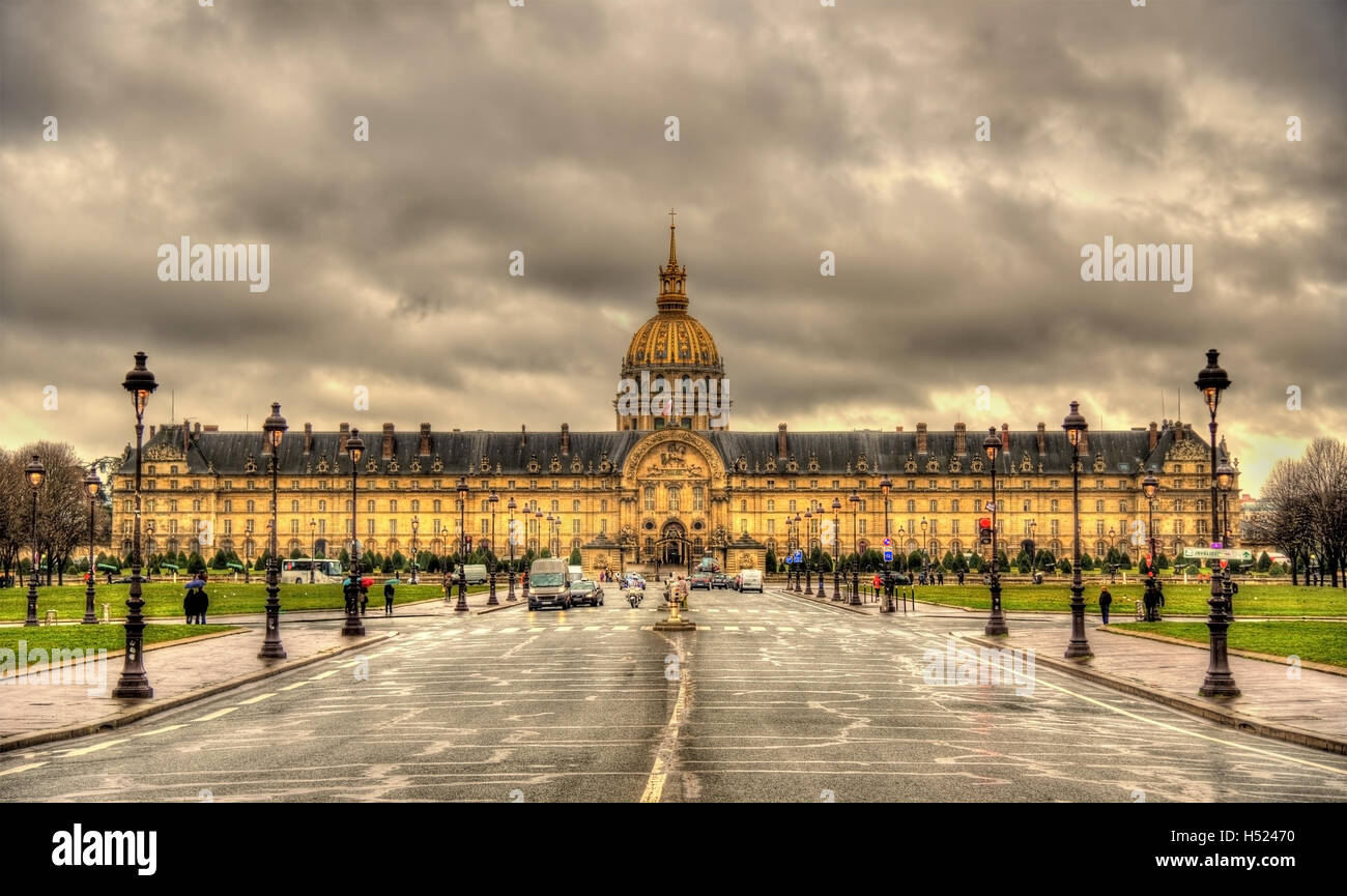 View of Les Invalides in Paris, France - Stock Image