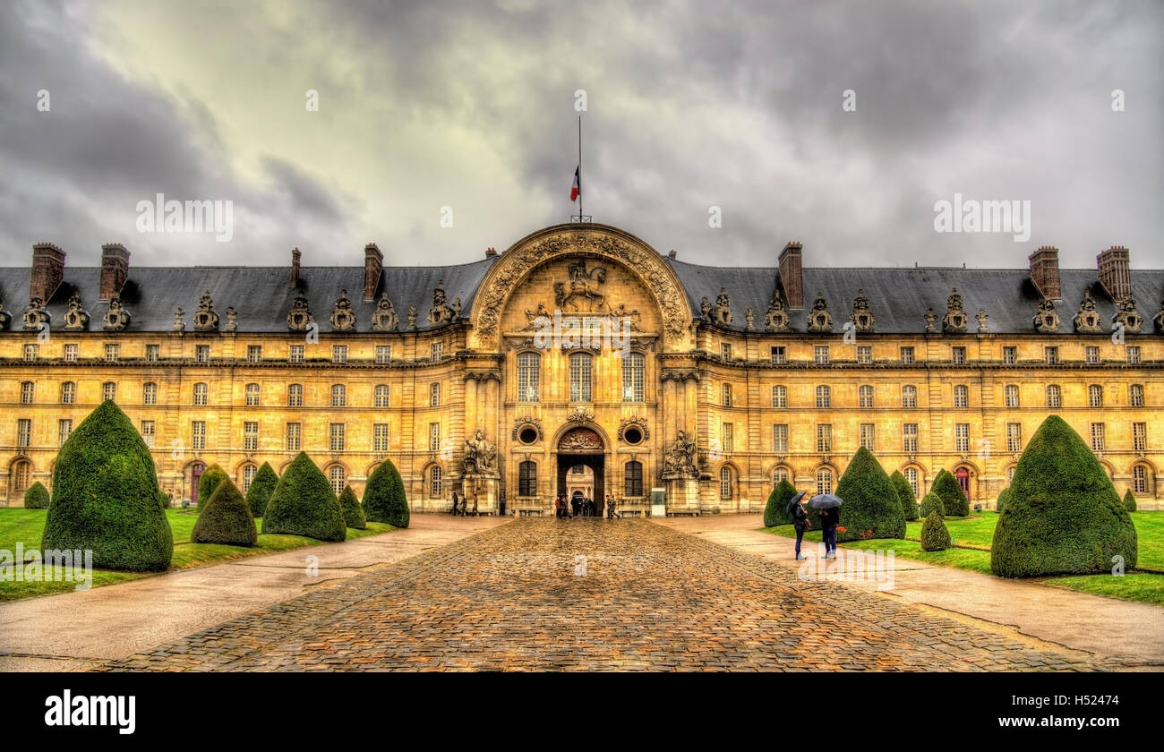 Facade of Les Invalides in Paris, France - Stock Image