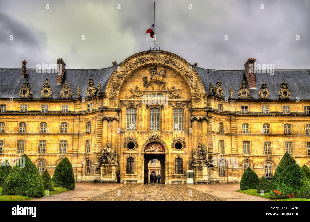 Entrance to Les Invalides in Paris, France - Stock Image