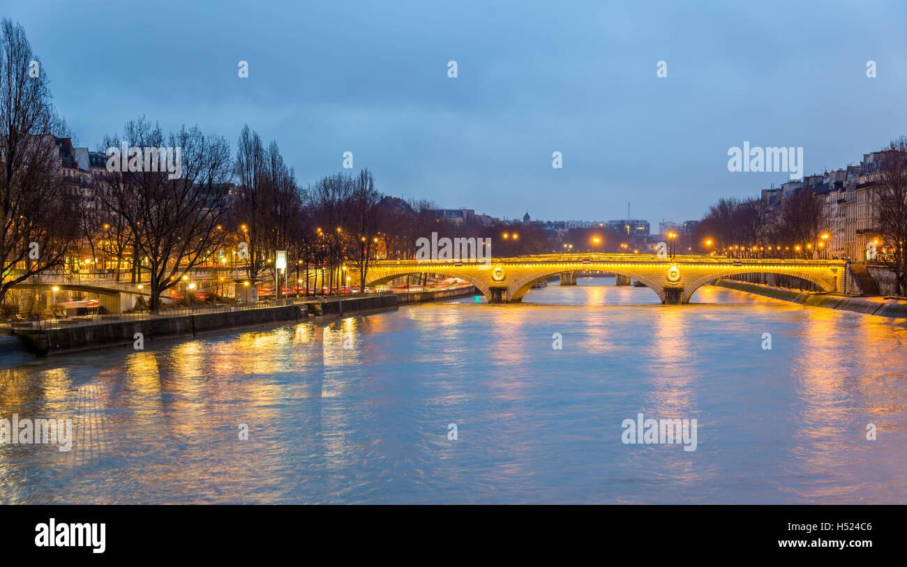 View of the bridge Louis-Philippe over the Seine in Paris - Stock Image