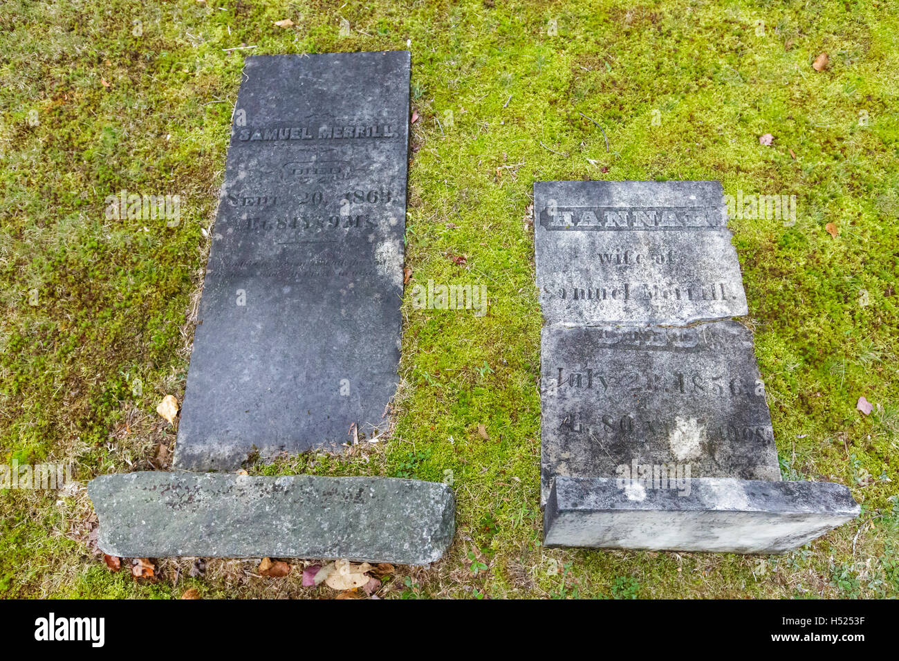 Breezy Point Point Road Cemetery in Warren, New Hampshire during the summer months. - Stock Image