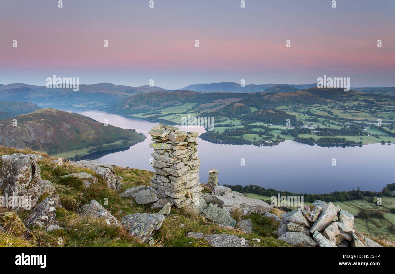 Bonscale Pike overlooking Ullswater in the English Lake District at dawn on a beautiful, tranquil September morning. - Stock Image