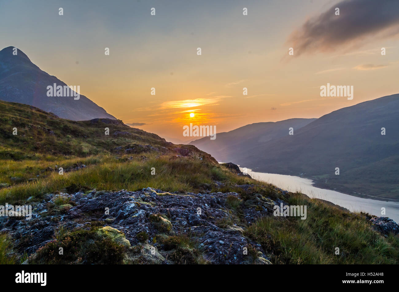 Beautiful sunset at Loch leven in Scotland, Great Brittain, Northern Europe - Stock Image