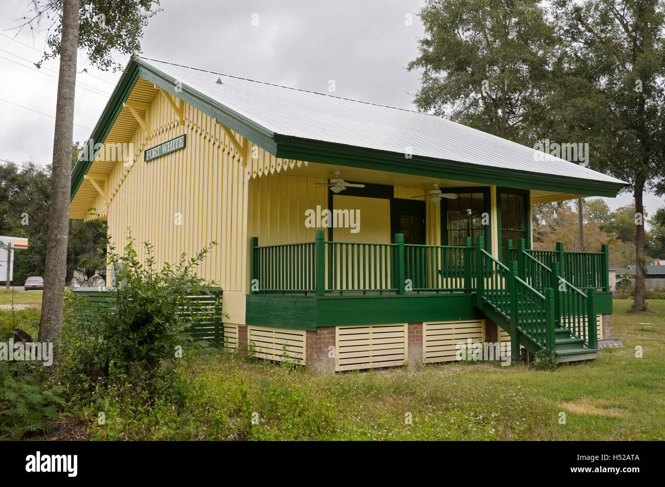 Train depot in small North Florida town of Fort White has been totally renovated. - Stock Image