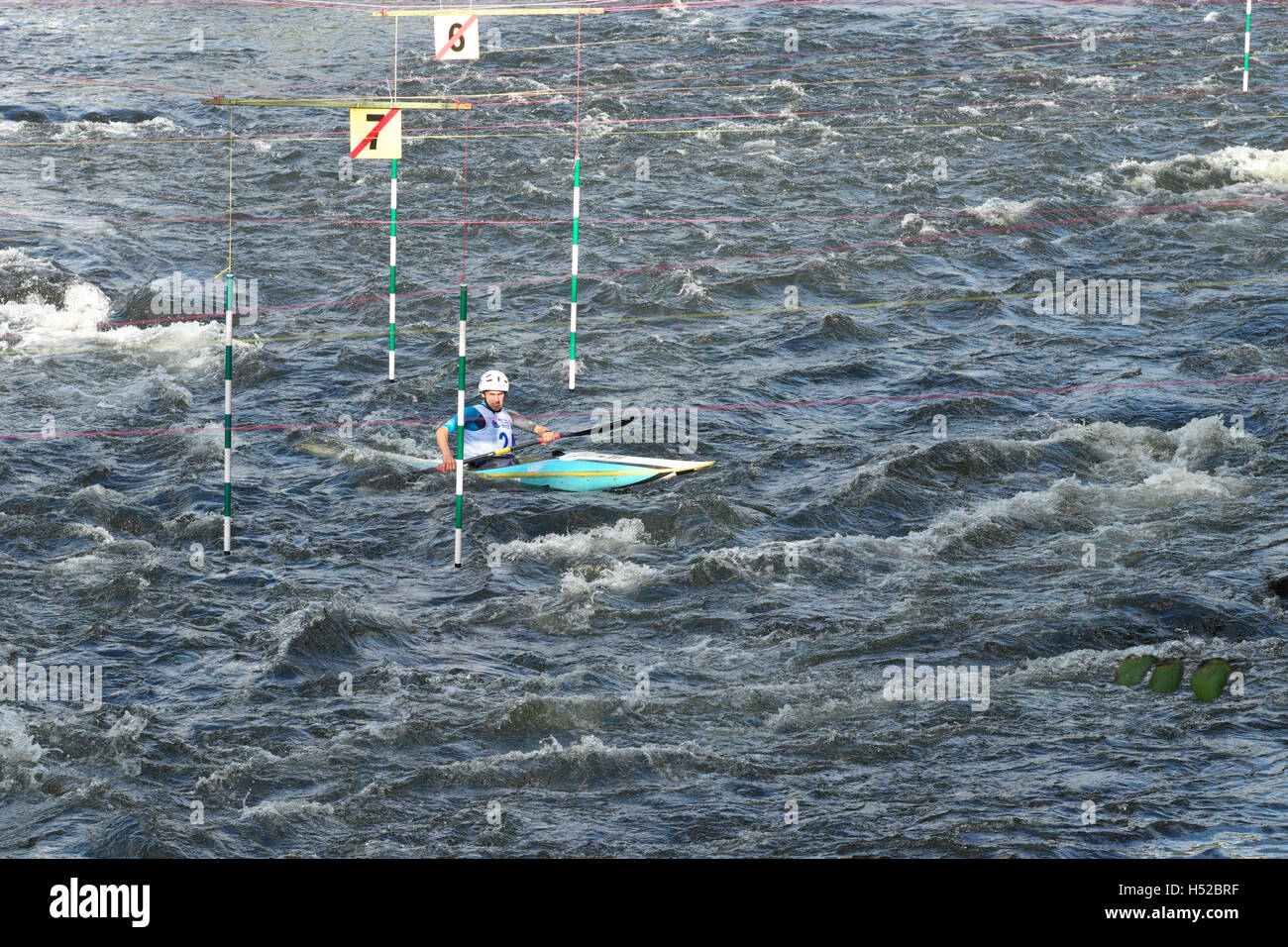 British Canoeing Slalom Competition Event On The River Wye At Symonds Yat In Herefordshire October 2016