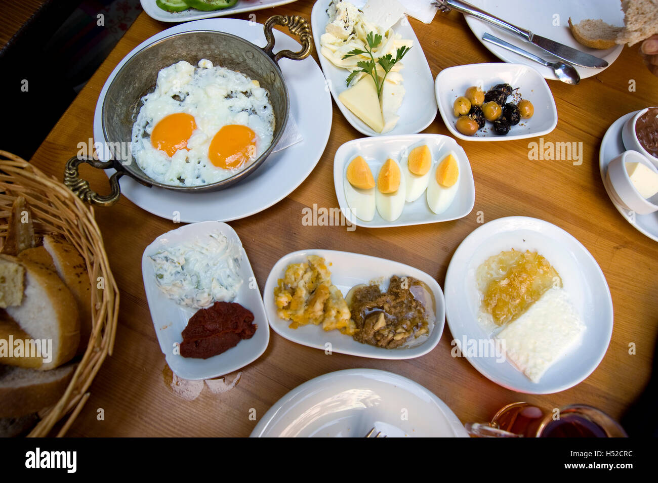 Breakfast dishes on restaurant in Istanbul, Turkey - Stock Image