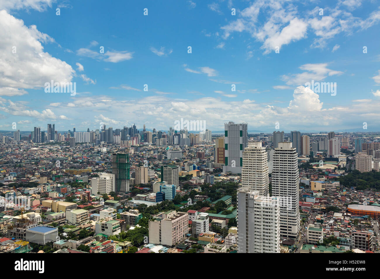 Manila, Philippines. September 2016. Aerial view of the neighborhood of Malate in the Philippines capital city. - Stock Image