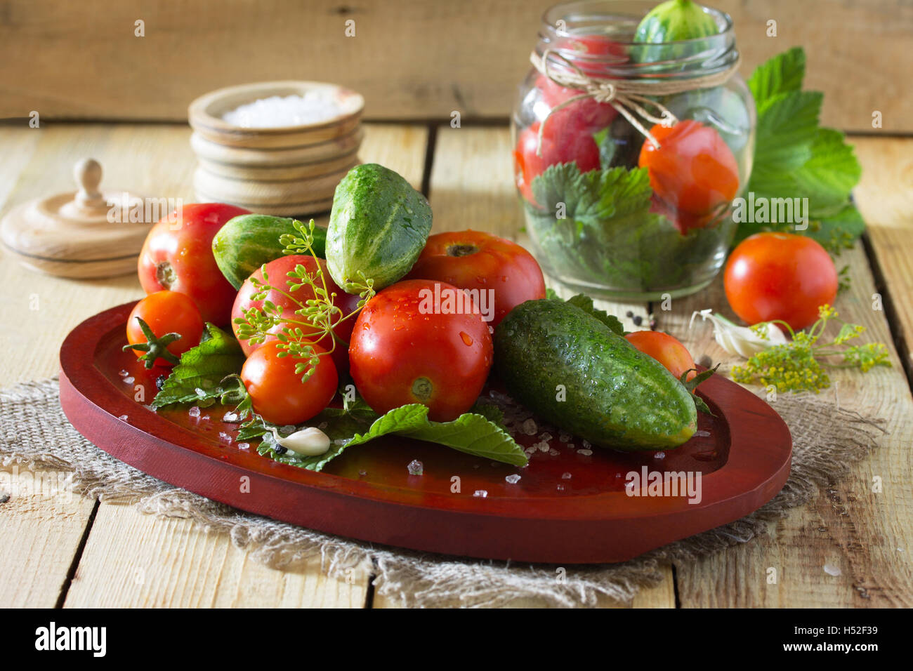 Home preservation: cucumbers in tomato filling