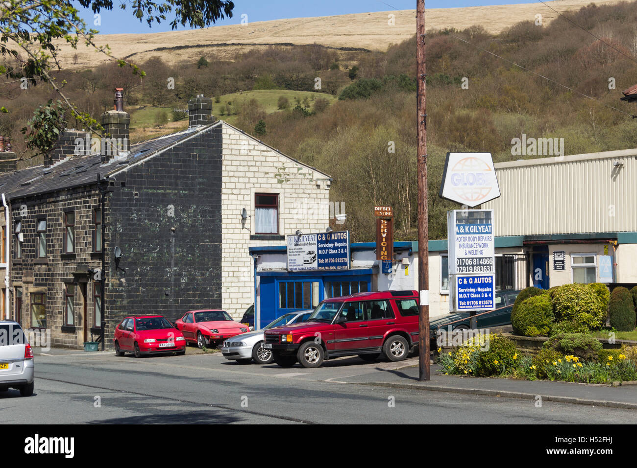 C and G Autos Walsden, Lancashire. A small, independent car repairs and MOT business serving the village of Walsden. - Stock Image