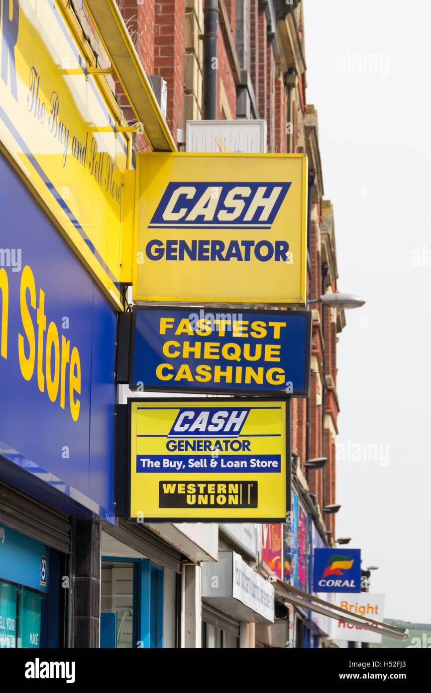 Cash Generator shop signs on The Rock, Bury, Greater Manchester. Cash Generator is a UK pawn broker based in Bolton, - Stock Image