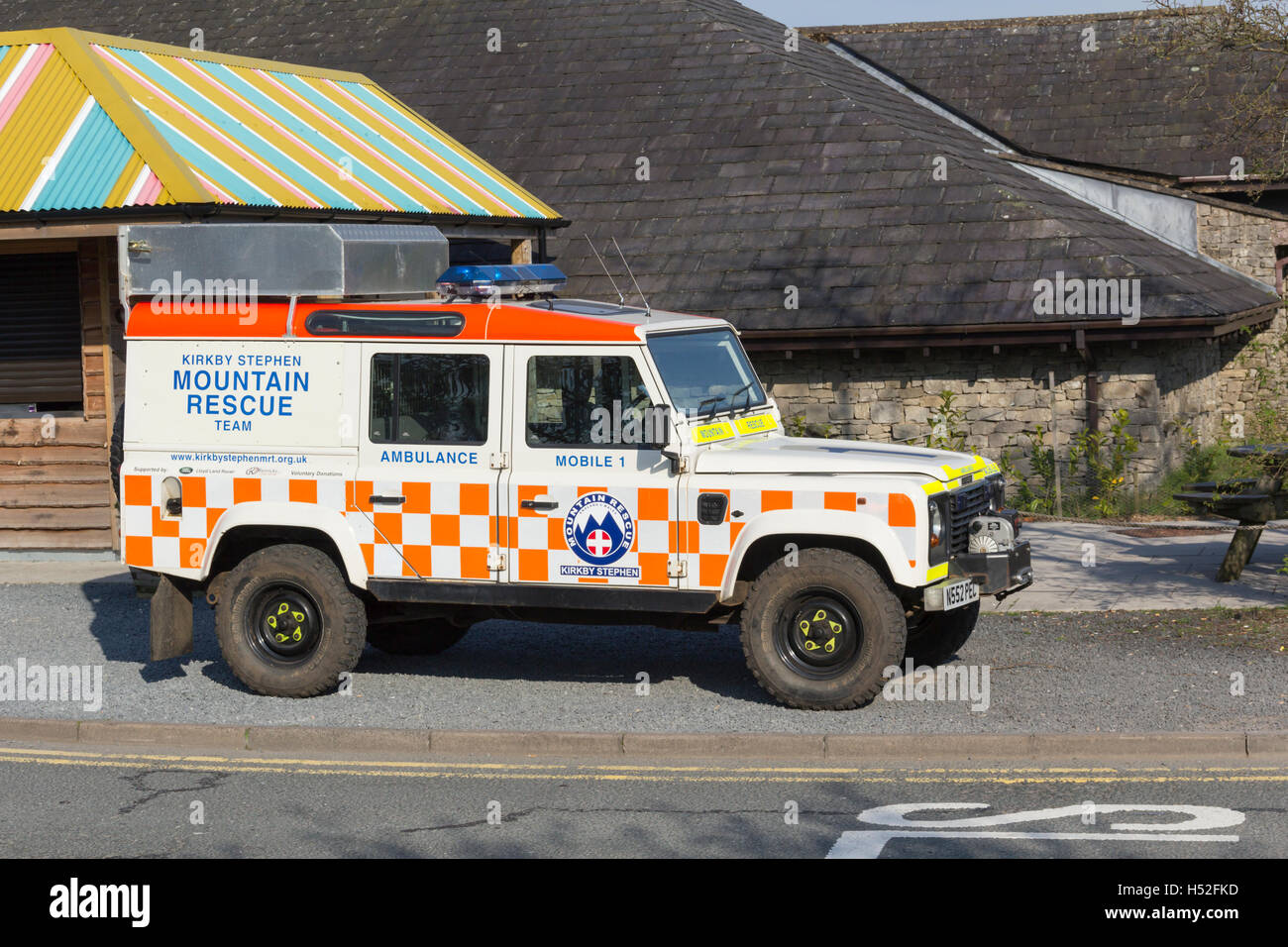 Kirkby Stephen Mountain Rescue Land Rover  parked at M6 motorway Tebay services southbound as part of a fund raising - Stock Image