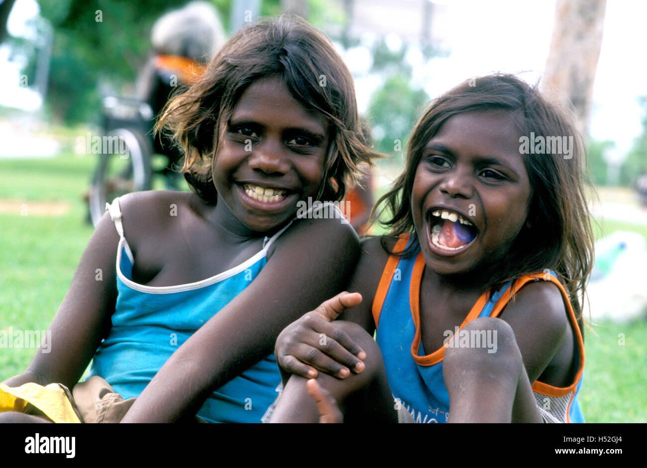 aboriginal children katherine northern territory australia - Stock Image