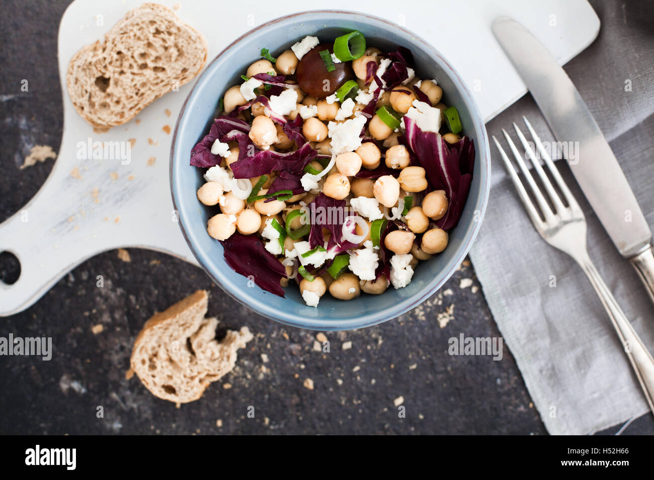 Vegetarian chick pea salad with feta cheese - Stock Image