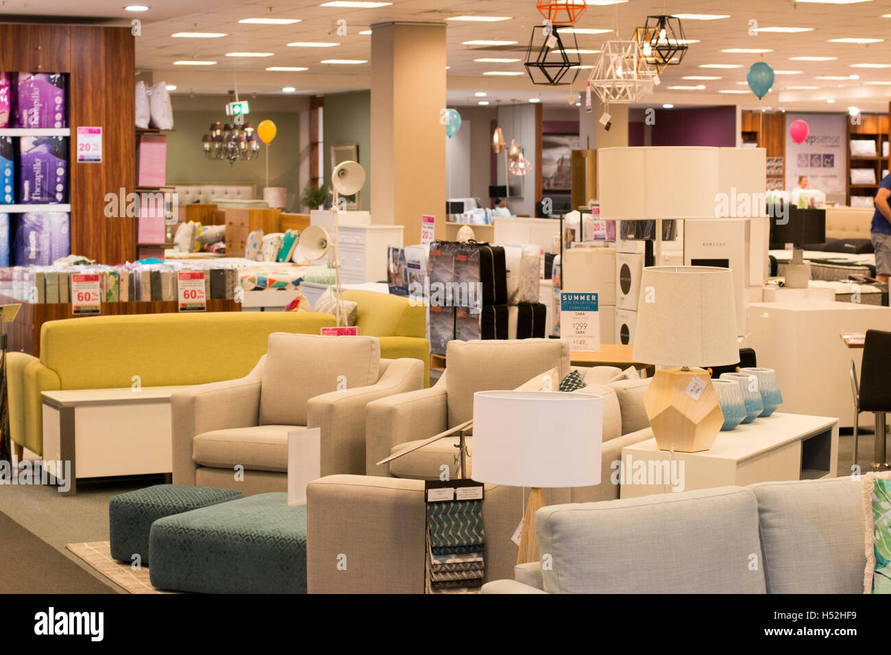 Interior of a harvey norman retail store selling furniture and electrical itemssydneyaustralia