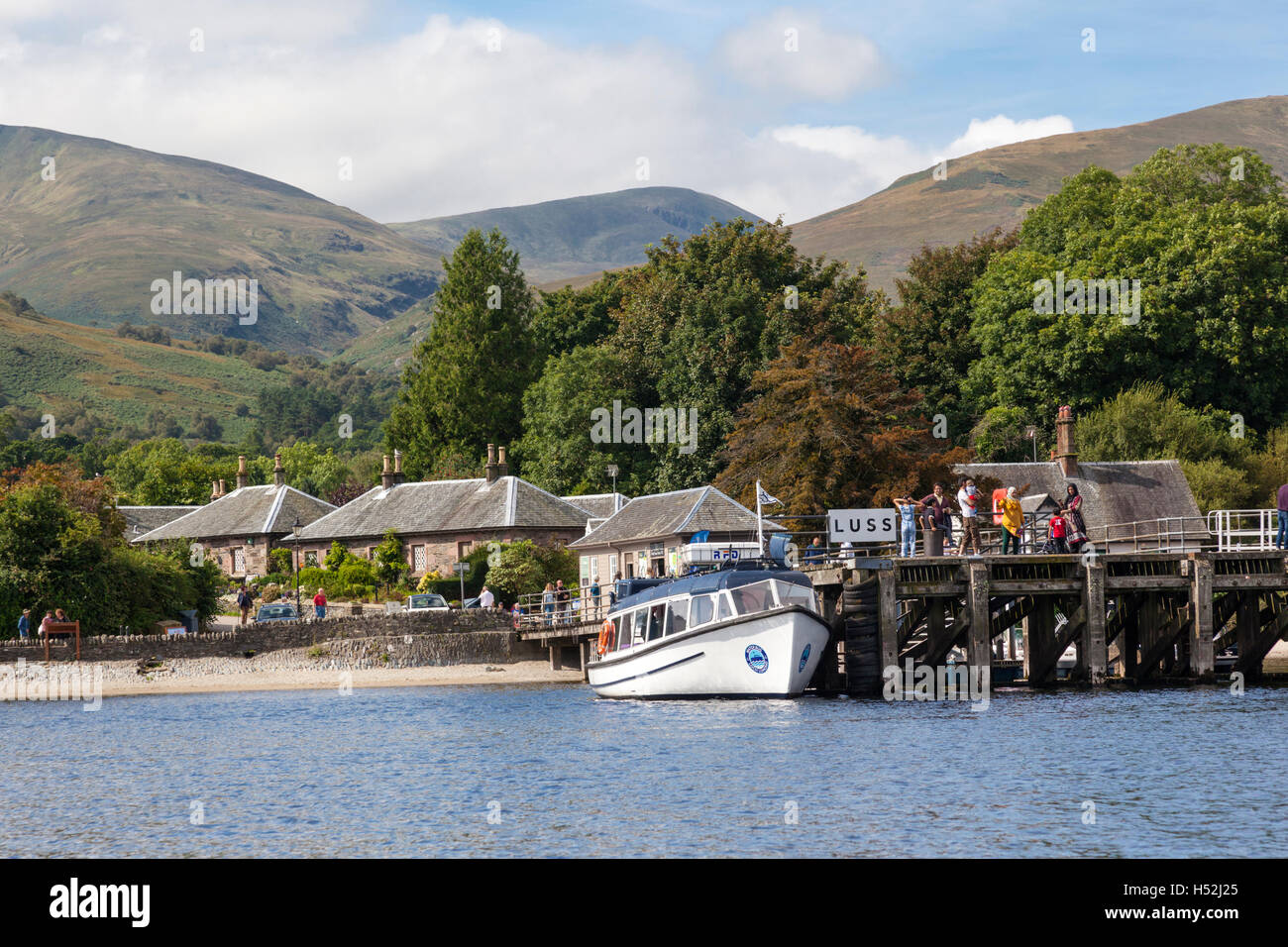 The picturesque village of Luss on the banks of Loch Lomond, Argyll & Bute, Scotland UK - Stock Image