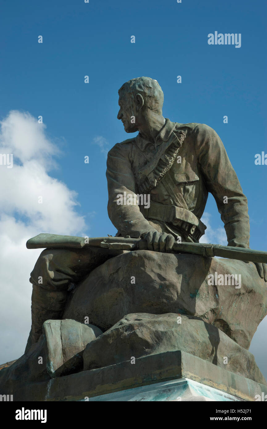 Close up of soldier on Suffolk South African War Memorial, Bury St Edmunds - Stock Image