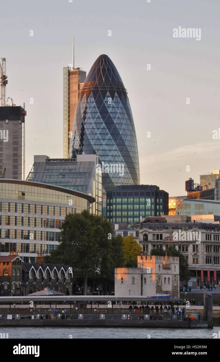 London's Gherkin skyscraper. - Stock Image