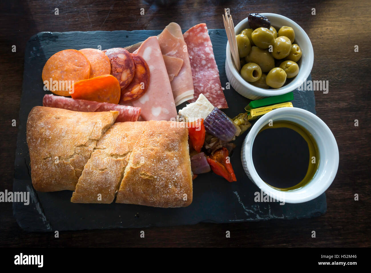 Lunch Time Snack Meal Deli Platter Cold Meats Feta Cheese Ciabatta Stock Photo Alamy