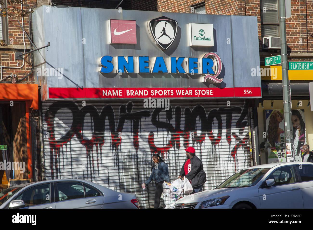 Sneaker store along Flatbush Avenue in