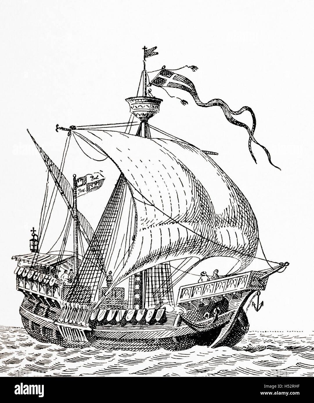 A 15th century Spanish caravel. - Stock Image