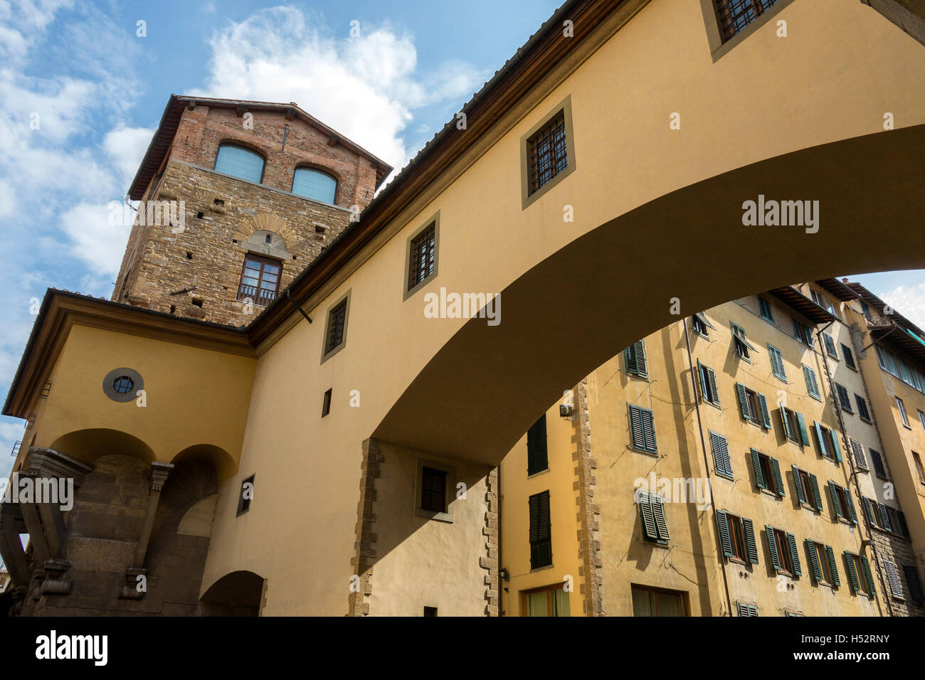 Florence, Italy - Archway at the south end of the Ponte Vecchio at the end of Via de Guicciardini. - Stock Image