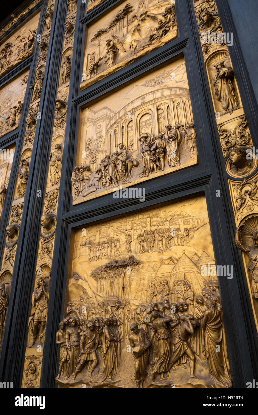 The East doors, or Gates of Paradise, by Lorenzo Ghiberti on the Baptistery near the Duomo in Florence, Italy. - Stock Image