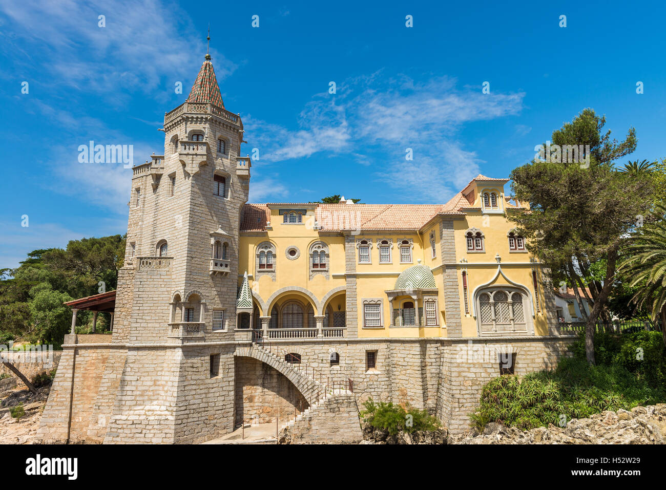 Cascais, Portugal - April 22, 2014: Beautiful building of the Museu Condes de Castro Guimaraes in Cascais, Portugal Stock Photo