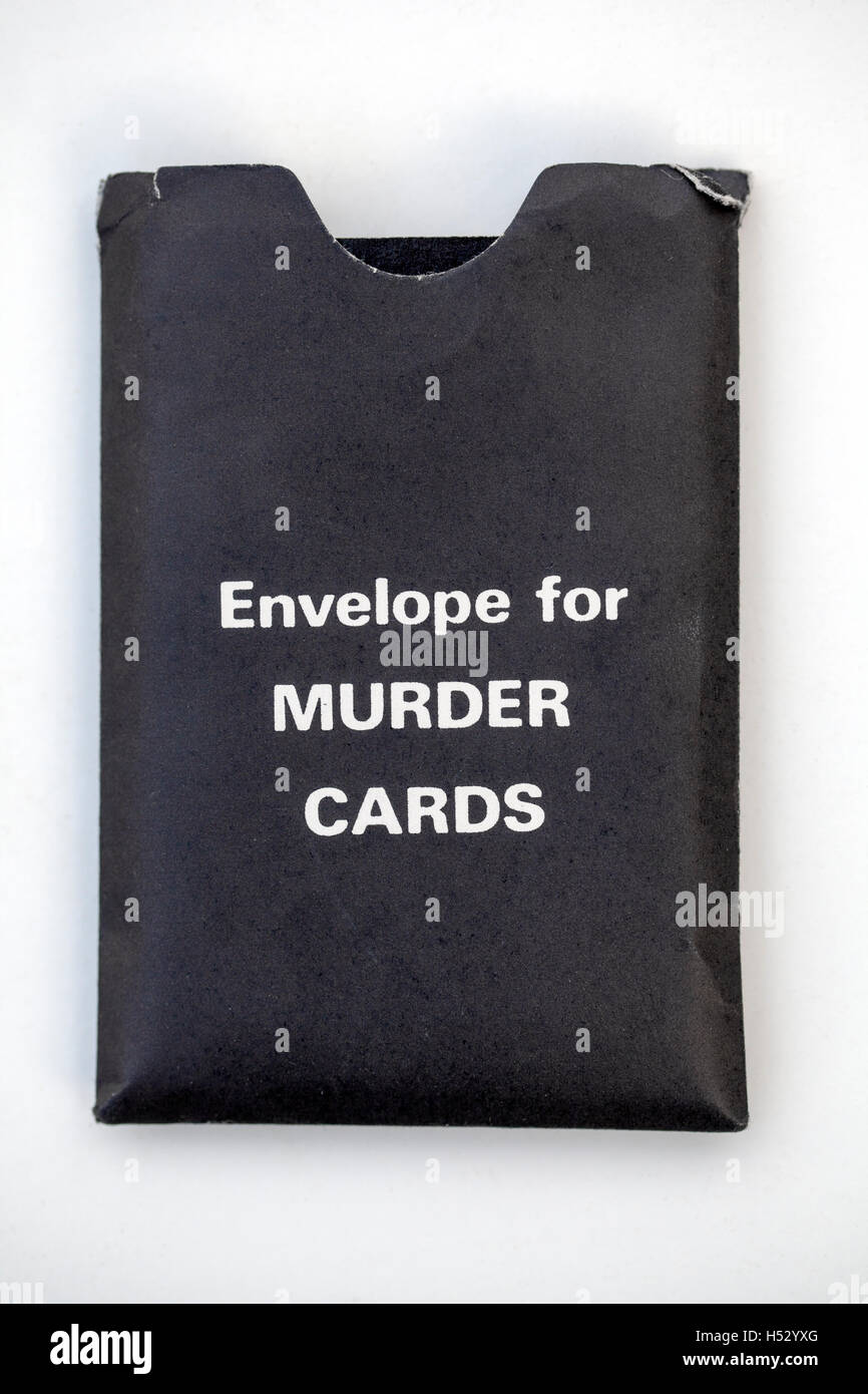 Envelope for Murder Cards from a Vintage Game of Cluedo - Stock Image