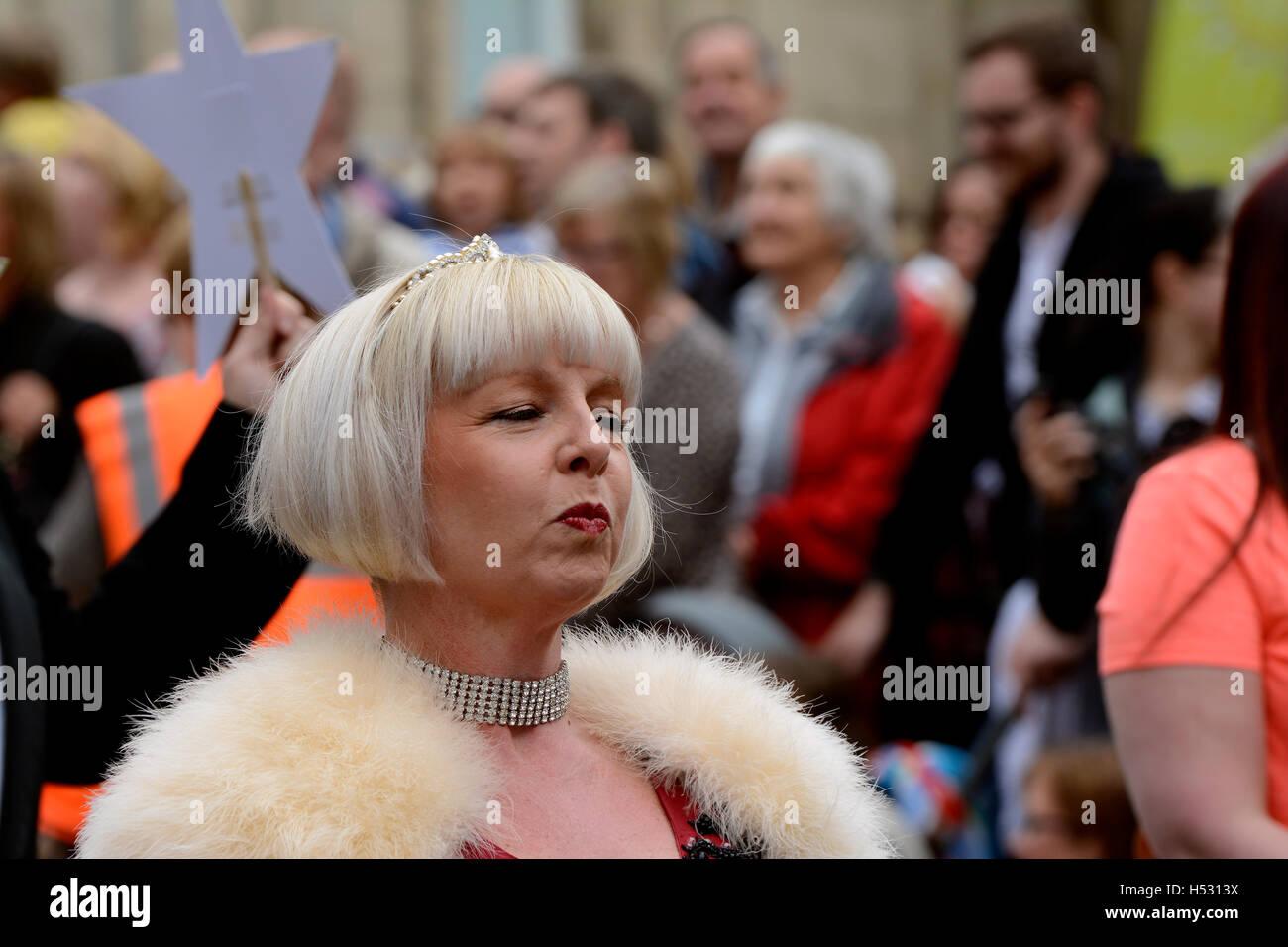 A posh lady wearing diamonds and fur - Stock Image