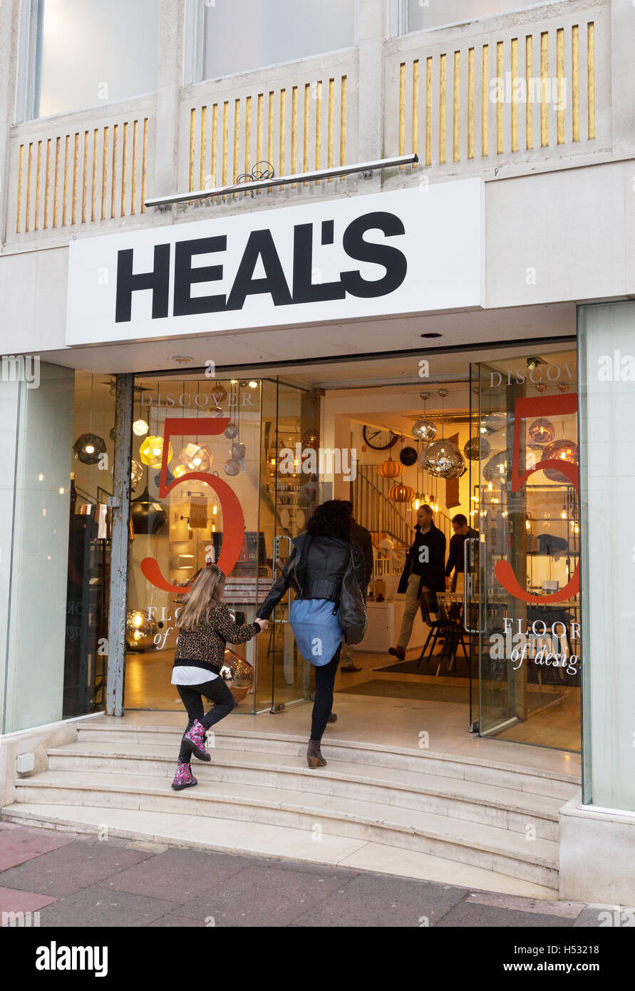people entering the Heal's store, Brighton Sussex UK - Stock Image
