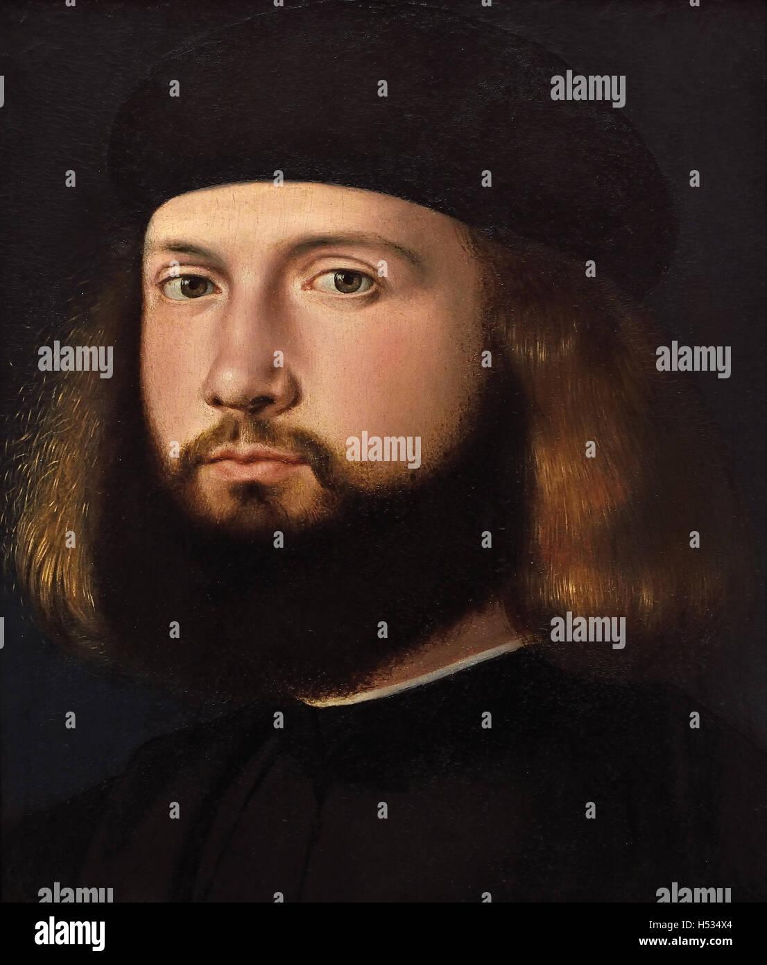 Portrait of a bearded Man 1510 Andrea Previtali -  Bergamo Andrea Cordelliaghi (c. 1480 –1528) Italian painter Renaissance - Stock Image