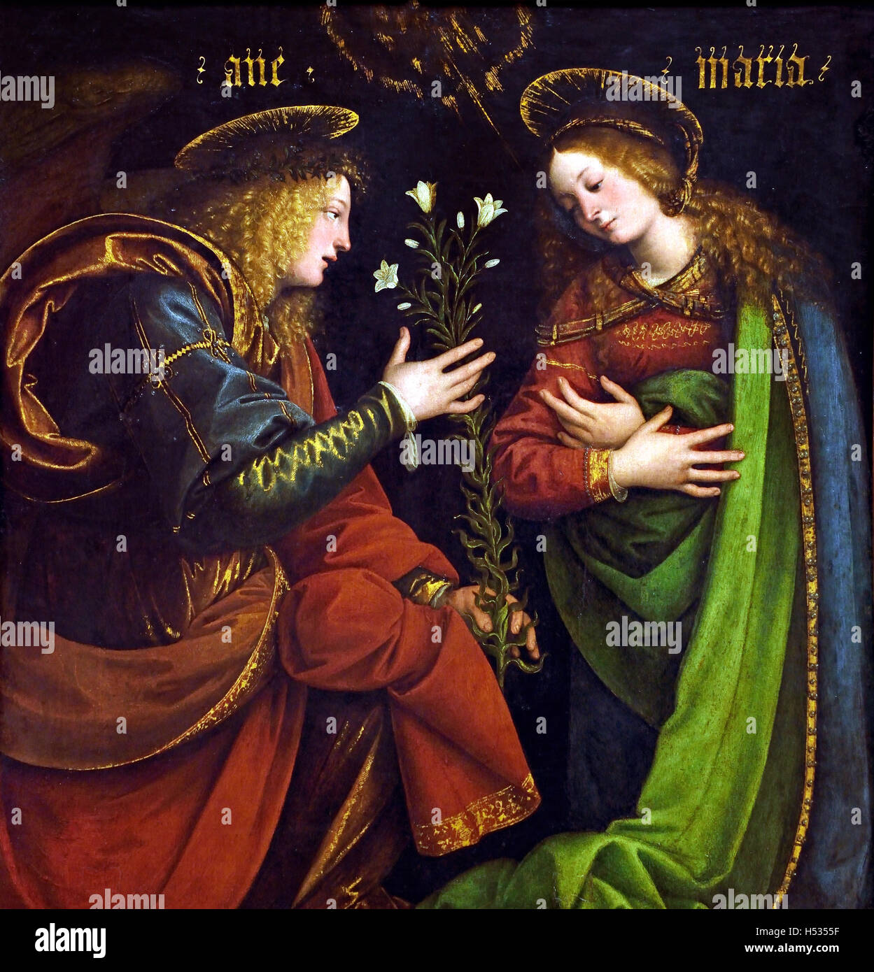 The announcement to Mary 1512 Gaudenzio Ferrari (c. 1471 – 1546)  Northern Italian painter and sculptor of the Renaissance. - Stock Image